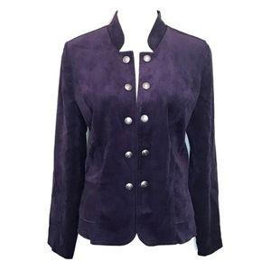 Dressbarn felt velvet military blazer jacket